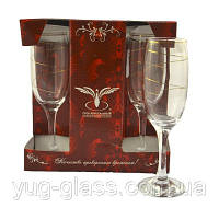 """Набор бокалов 190 мл для шампанского D29-419 рисунок """"Змейка"""" 6 шт."""