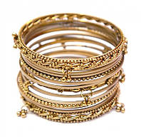Комплект из 17 браслетов кольцо с подвесками желтый
