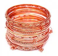 Комплект из 17 браслетов кольцо с подвесками медь