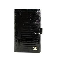 Кошелек женский кожаный, кредитница, тревеллер Chanel 9048 черный лаковый