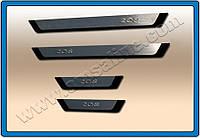 Peugeot 208 2012+ гг. Накладки на пороги Omsa (4 шт, нерж)