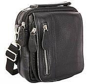 Удобная мужская кожаная сумка-барсетка на пояс черная
