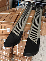 Volkswagen Caddy 2015+ гг. Боковые площадки Line (2 шт., алюминий) Макси база