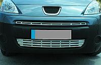 Citroen Berlingo 2008+ гг. Накладки на решетку радиатора (2 част., нерж.)