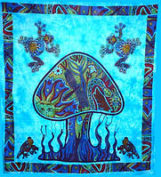 Покрывало 100% Хлопок Mushroom Голубое