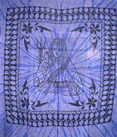 Покрывало 100% Хлопок Боги однотонное Шива Синее