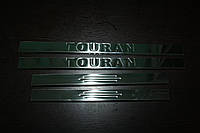 Volkswagen Touran 2003-2010 гг. Накладки на пороги узкие (4 шт, нерж)