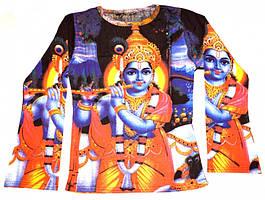 Футболка женская длинный рукав Кришна с флейтой синий