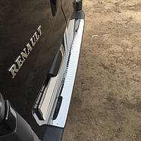 Renault Trafic 2001-2015 гг. Накладки на задний бампер С загибом (Carmos, сталь)