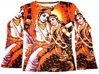 Футболка женская длинный рукав цветная Радха с Кришной