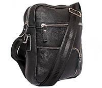 Практичная мужская кожаная сумка черная