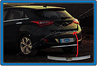 Hyundai I-30 2012+ гг. Накладка на задний бампер верхняя (HB, нерж)