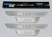 Hyundai I-30 2012+ гг. Накладки на пороги OmsaLine (4 шт, нерж.)