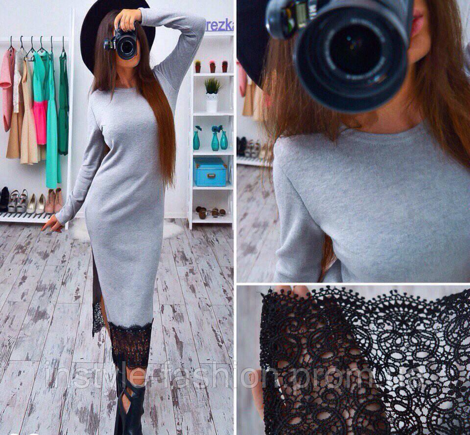 4536fd3cef2 Женское модное платье ангора с кружевом серое  купить недорого копия ...