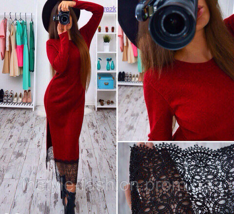 0db0cf238b4 Женское модное платье ангора с кружевом красное  купить недорого ...