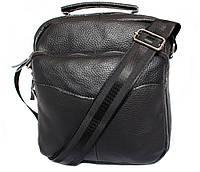 Удобная мужская кожаная сумка черная