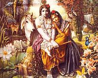 Картина со светодиодами Радха с Кришной №2