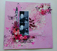 Мастер класс по созданию микс медиа странички «Розовые розы»