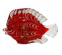 Рыба красная цветное литое стекло