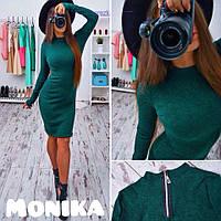 Женское платье ангора на молнии зеленое