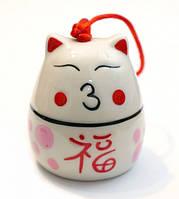 Счастливый кот - керамический колокольчик №6