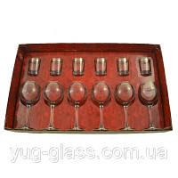 """Набор 12 предметный TL34-1689/837 рисунок """"Нежность""""(бокалы для вина и стопки)."""