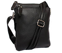 Удобная мужская кожаная сумка с ручкой черная