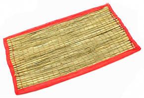 Циновка для медитации из травы Куша (Kusha Asan) 63*38*1см. Розовый кант