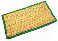 Циновка для медитации из травы Куша (Kusha Asan) 63*38*1см. Зелёный кант