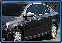 Volkswagen Passat B7 2012-2015 гг. Накладки на зеркала (2 шт, нерж) OmsaLine - Итальянская нержавейка