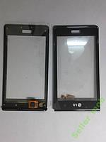 Сенсорное стекло LG P700,  P705, L7 черное с рамкой.