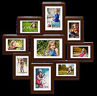 Деревянная мультирамка-коллаж Афродита II на 9 фотографий коричневая