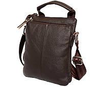 Удобная мужская кожаная сумка с ручкой коричневая