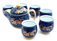 Набор чайный Чайник с ситечком + 6 чашек Золотые драконы на синем