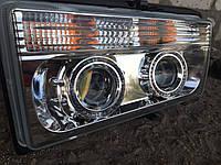 Передние фары на ВАЗ 2107 хромированные с Ангельскими глазками.