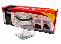 Набор 4 баночки для специй стеклянная крышка