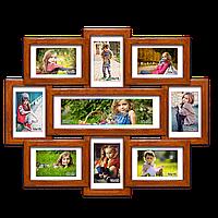 Деревянная мультирамка-коллаж Виктория на 9 фотографий палисандр