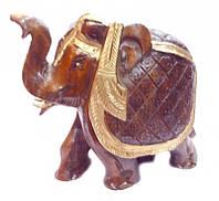 """Слон деревянный с золотой краской С1001-6"""""""