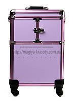 """Большой чемодан для косметики, раскладной на колесах """"Purple"""", фото 1"""