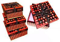 """Коробка картонная подарочная """"Черный + горох"""""""
