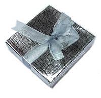 Коробочка картонная для упаковки бижутерии Серебряная
