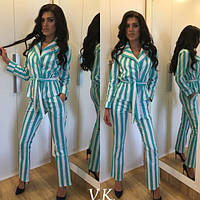 Женский костюм пиджак +брюки ткань стрейч коттон