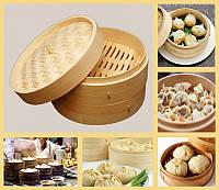 Китайская бамбуковая паровая пельменница Цзяо Цзы два яруса 24*24*15см.