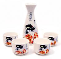 Набор для саке, Гейши в красном кимоно.