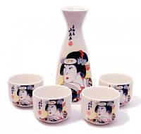 Набор для саке, Гейши в черном кимоно.