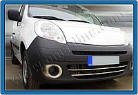 Renault Kangoo 2008+ и 2013+ гг. Накладки на передний бампер (2 шт, нерж)