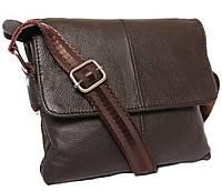 Практичная мужская кожаная сумка горизонтальная коричневая