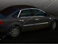 Ford Focus II 2005-2008 гг. Верхняя окантовка стекла (6 шт, нерж.)