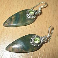 """Серебряные серьги с моховым  агатом и хризолитом  """"Весенний лист""""  от студии LadyStyle.Biz"""