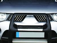 Mitsubishi L200 2007-2015 гг. Накладки на решетку радиатора (14 шт, нерж) OmsaLine - Итальянская нержавейка